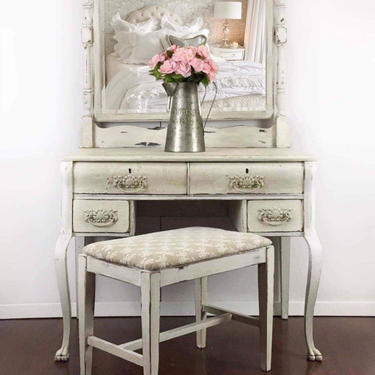 Vintage Vanity with Mirror and Bench | White Vanity Table w Mirror | White Vanity Desk | Antique Vanity Painted White-Cream | Make up Vanity by AllThingsNewAgainVA