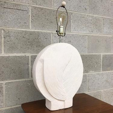 Vintage Table Lamp Retro 1980s Contemporary + Ceramic + Off-White + Textured + Round + Flat + Mood Lighting + Home Decor by RetrospectVintage215
