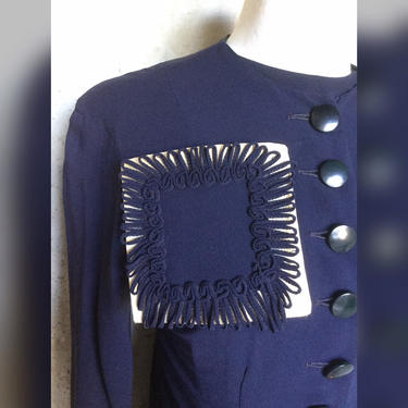 Killer 1940s Rayon Crepe Dress and Jacket Navy Blue and White  42 Bust by AmalgamatedShop