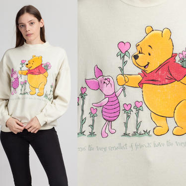 90s Pooh & Piglet Friendship Sweatshirt - Extra Large   Vintage Winnie The Pooh Slouchy Cartoon Graphic Pullover by FlyingAppleVintage