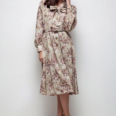 shirtwaist dress, bow dress, ascot dress, secretary dress, long sleeve dress, vintage 70s pleated brown tan botanical print LARGE L by shoprabbithole