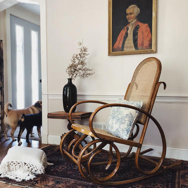 Bentwood Thonet Style Rocker, Bentwood Rocking Chair, Cane Rocker, Cane Chair,  Thonet Style Rocking Chair, Cane Seat by VintageandSwoon