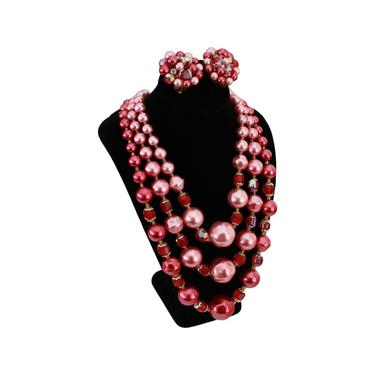 STUNNING 1960s Pink Pearl Demi Parure Necklace & Earrings Set - Vintage Pink Pearl Necklace - Vintage Pink Pearl Earrings - 60s Pink Jewelry by VeraciousVintageCo