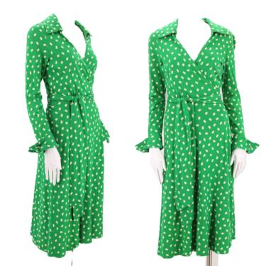 70s DVF green wrap dress 6 / 1970s vintage green print Diane Von Furstenberg dot sash tie dress 1970s S-M by ritualvintage