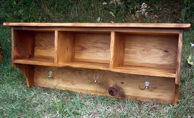 Reclaimed Pine Coat Rack Cubby Shelf for Entryway by BarnWoodFurniture