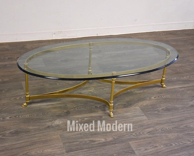 LaBarge Brass and Glass Coffee Table by mixedmodern1