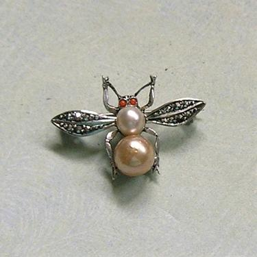 Vintage Sterling and Marcasite Bug Pin, Sterling Germany Insect Pin, Old Sterling Insect Pin (#3799) by keepsakejewels