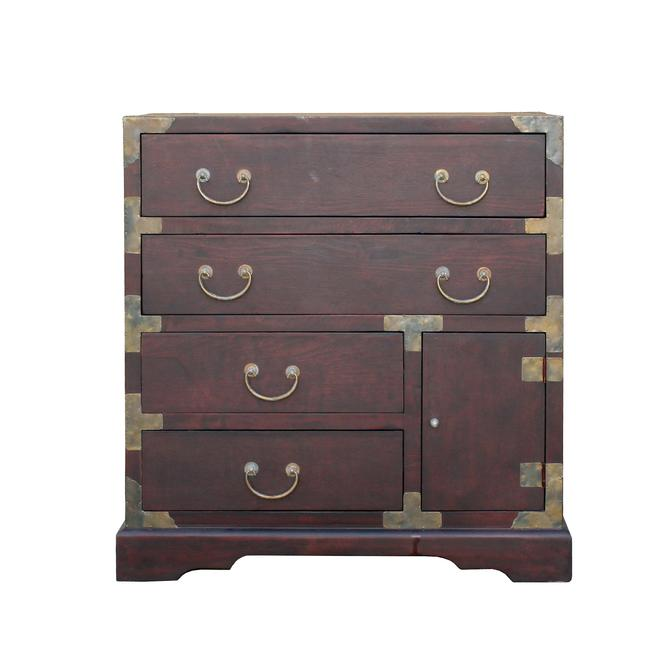 Oriental Asian Metal Hardware Chest of Drawers Cabinet ws473S