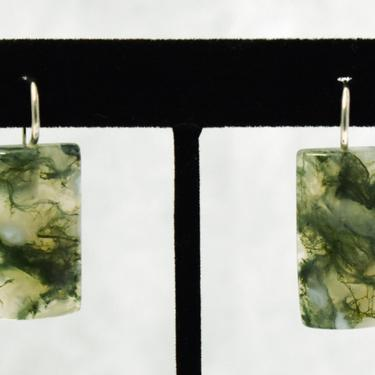 90's moss agate 925 silver funky geometric dangles, green white stone rectangles rigid sterling ear wire earrings marked China by BetseysBeauties