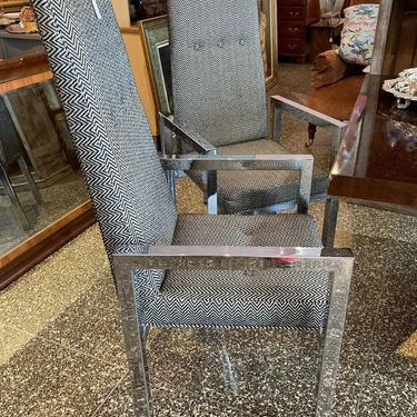 """Chrome and herringbone arm chairs. 2 available 21"""" x 22.5"""" x 45.5"""" Seat height 18.5"""""""