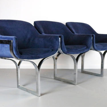Chrome Three Seat Bench / Sofa in Navy Blue Velvet in the Manner of Milo Baughman by ABTModern