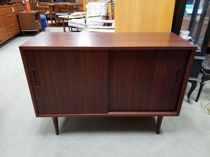 Danish Office Credenza : Danish modern rosewood sliding door credenza by poul hundevad from
