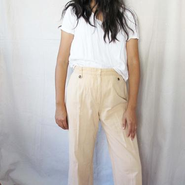Vintage 70s Wide Leg Pants 29 30 - Beige Tan High Waist Trousers - Earth Tone Clothing - Cropped Wide Leg Pants - 70s Clothing by MILKTEETHS