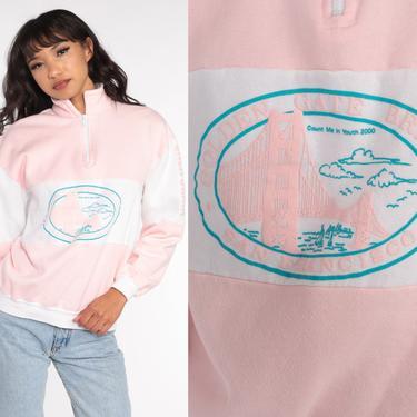 San Francisco Shirt Quarter Zip Sweatshirt 80s Golden Gate Bridge 90s Pullover Sweater 1980s California Sweater Vintage Small Medium by ShopExile