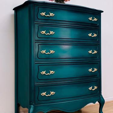 Stunning French Provincial Chest, Vintage, Hand Painted, Antique, Blue, Green, Teal, French, French Country, by LaVidaBellaDesign