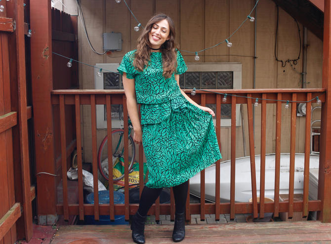 Vintage 1980s Party Dress - Green & Black Abstract Leaf Print Peplum Dress - M/L by SecondShiftVintage