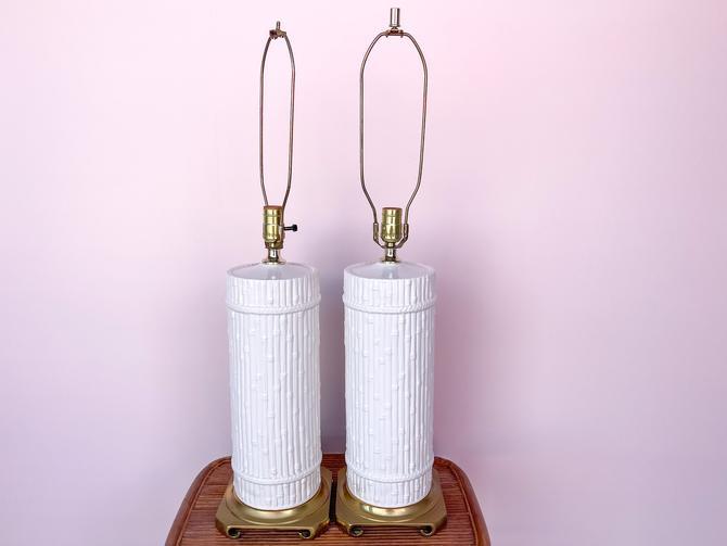 Pair of Italian Faux Bamboo Lamps