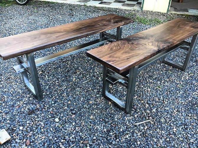 Industrial bench. Walnut bench. Hardwood bench. Entry bench. Walnut coffee table. by UrbanIndustrialNW