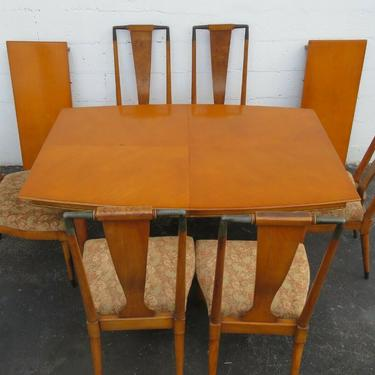 Mid Century Modern Set of Dining Table Six Chairs and Two Leaves 2467