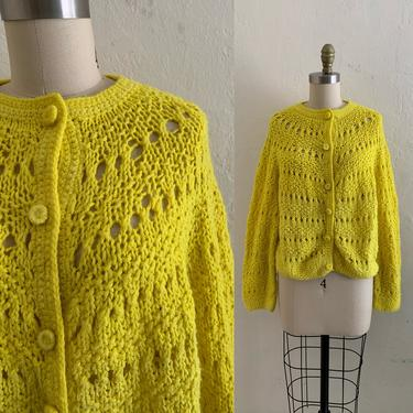 vintage 60's yellow chunky knit cardigan sweater by HarlowsVintage
