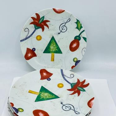"""Neiman Marcus Plates Set of 4 Four Christmas Holiday ornaments Dessert 8.25"""" unused condition by JoAnntiques"""