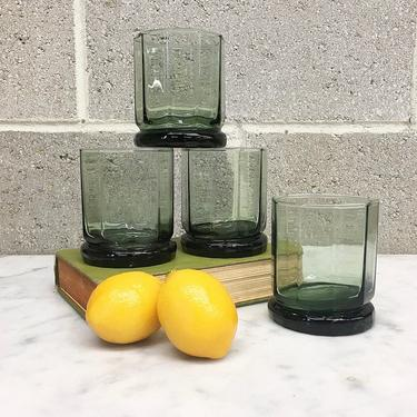 Vintage Whiskey Glass Set Retro 1980s Anchor Hocking + Essex + Green + Octagon Shape + Set of 4 + Barware + Home and Kitchen Decor by RetrospectVintage215