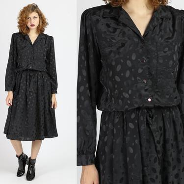 80s Black Polka Dot Midi Dress - Medium   Vintage Shiny Long Sleeve Shirt Dress by FlyingAppleVintage