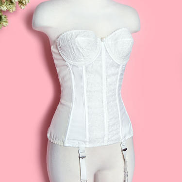 Vintage White Corset Girdle Merry Widow Bra Lingerie Bustier 1950's, 4 garters Boned Eyelet Small by Boutique369