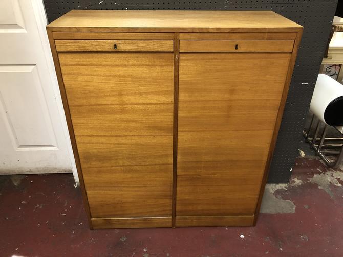 Vintage MCM Danish Walnut Tambour Door Cabinet
