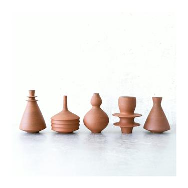 Made To Order- set of 5 ceramic mini vases in raw unglazed earth toned clay by sarapaloma.  modern bud vase terra cotta color decor by sarapaloma