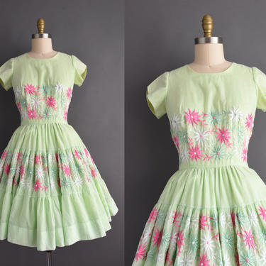 vintage 1950s | Gorgeous Lime Green Floral Short Sleeve Sweeping Full Skirt Day Dress | Medium | 50s dress by simplicityisbliss