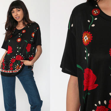 Red Rose Top Floral T Shirt 90s Grunge Floral Tee Black Blouse Short Sleeve TShirt Flower Print Romantic 1990s Vintage Large by ShopExile