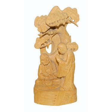 Zen Master Lecture Under Juniper Tree Box Wood Carving Figure n591E by GoldenLotusAntiques