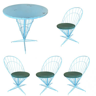 """Verner Panton Style Wire """"Cone"""" Chairs and Dining Table Patio Set by HarveysonBeverly"""