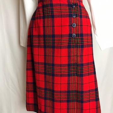 "60's Pendleton wool plaid skirt~ A line cut~ wrap style~ red navy blue plaid woolen size 27"" waist by HattiesVintagePDX"
