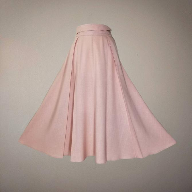 Vintage 80s Pleated Swing Skirt, Large / Pink Tea Length Midi Skirt / Long Flared Party Skirt with Pockets / Linen Look Prairie Skirt by SoughtClothier