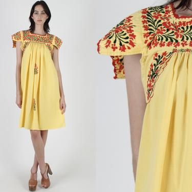 Sunflower Yellow Oaxacan Dress / Bright Floral Mexican Dress / Hand Embroidered San Antonio Mini Dress / Cotton Flutter Sleeve Mini Dress by americanarchive
