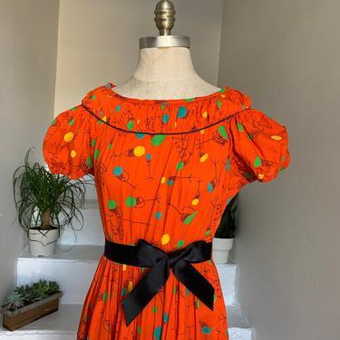 Atomic 1950's Abstract Novelty Print Orange Drums Music Dress 32 Bust Vintage by AmalgamatedShop