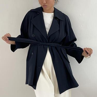 90s Perry Ellis Saks wool trench coat / vintage navy blue wool gabardine belted short trench car coat   S M by RecapVintageStudio