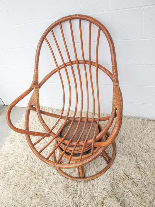 Unique Bohemian Vintage Bamboo Swivel Armchair - Light Almond Finish by PortlandRevibe