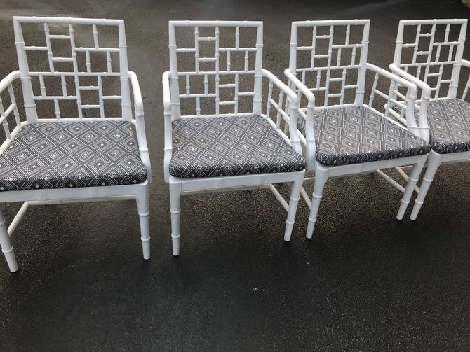 Set of four Chinese chippendale faux bamboo arm chairs by HolbrookBazaar