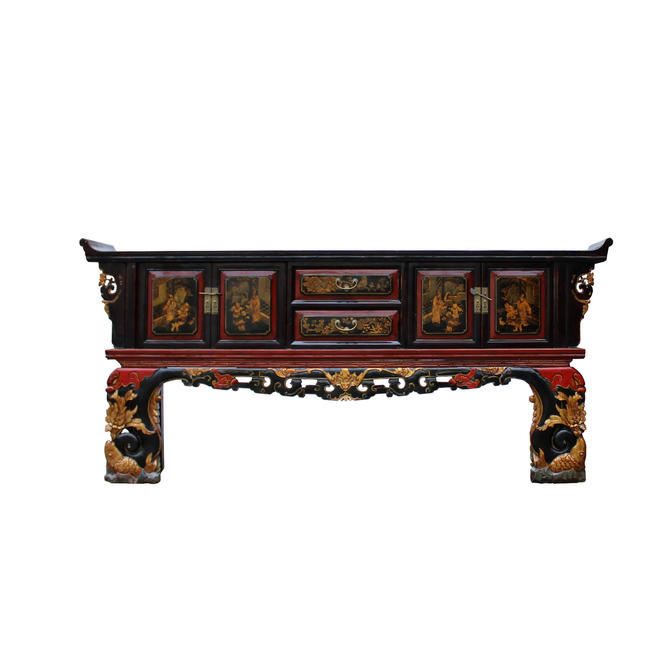 Chinese Fujian Golden Graphic Sideboard Console Table TV Cabinet cs4889E by GoldenLotusAntiques