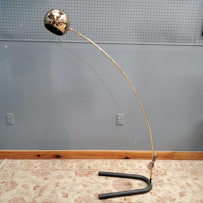 Mid Century Brass Arc Floor Lamp