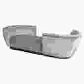 Custom Tete-a-Tete Sofa Bench in Grey Velvet with Walnut Base