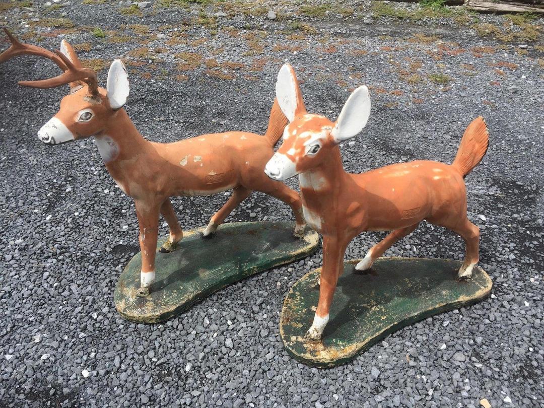 1961 Vintage Mid Century Concrete Deer Statues Lawn Art