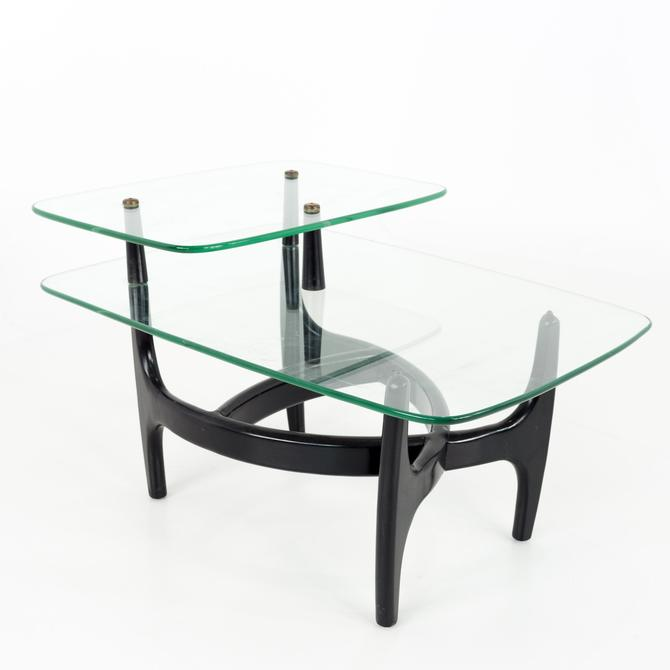 Adrian Pearsall Mid Century Modern Glass and Black Ebonized Side End Table - mcm by ModernHill