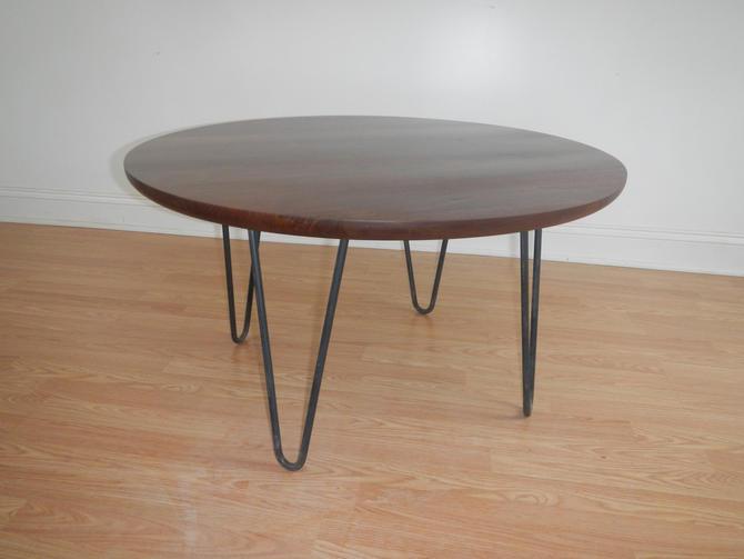 Mid Century Modern Danish Modern Round Coffee Table With Hairpin