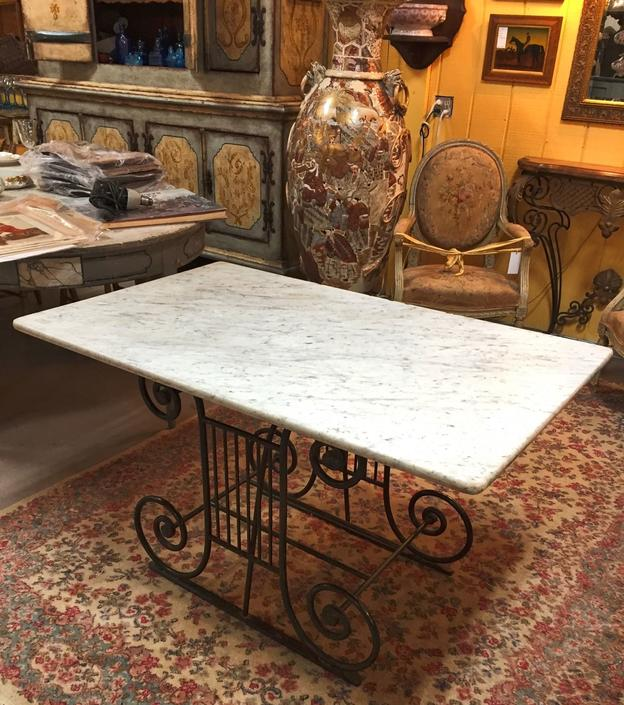 Antique Wrought-Iron Marbletop French Pastry Table Butcher's Table | c. 19th cen