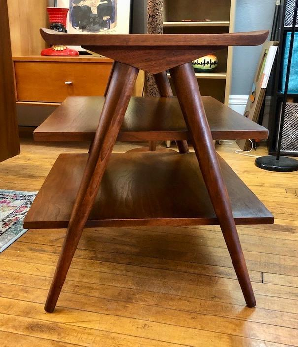 """American of Martinsville """"Accord"""" Inlaid Walnut Tiered Stand 1960's"""