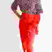 Isa Arfen Ruffle Trim Midi Skirt, Size 4